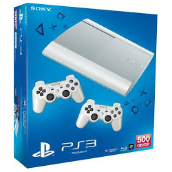 PLAYSTATION  3SUPER SLIM BIEL 500 GB + 2 PADY (używana) (PS3)